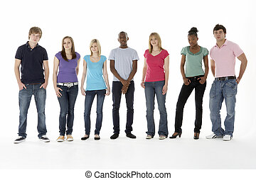 studio, adolescente, amici, gruppo