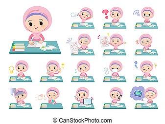 studio, ragazza, arabo, hijab