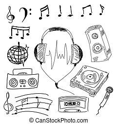 stuff., vettore, musicale, illustrazione