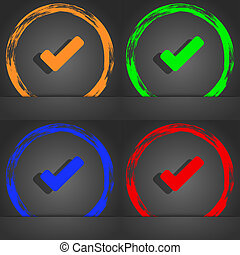 style., assegno, arancia, moda, moderno, icona, tik, marchio, verde, simbolo., verde, blu, design.