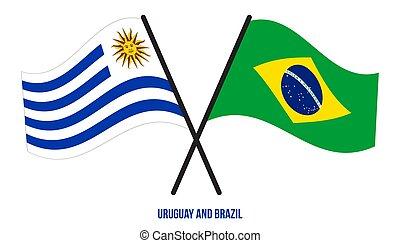 style., ufficiale, colori, bandiere, corretto, uruguay, attraversato, appartamento, brasile, proportion., ondeggiare