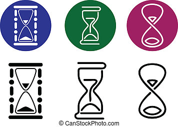 styles., differente, vettore, silhouette, hourglass.