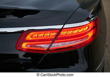 su., affari, luce, automobile., rosso, chiudere, retro