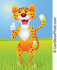 su, cartone animato, ghepardo, pollice
