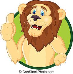 su, cartone animato, leone, pollice
