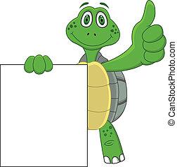 su, cartone animato, tartaruga, pollice