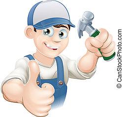 su, costruttore, pollici, carpentiere, o