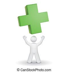 su, croce, dall'aspetto, persona, verde, 3d