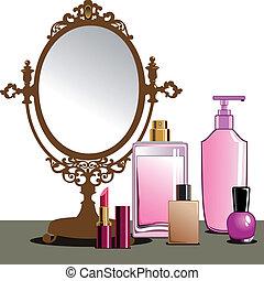 su, fare, specchio