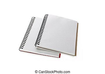 su, isolato, quaderno, chiudere, bianco, aperto