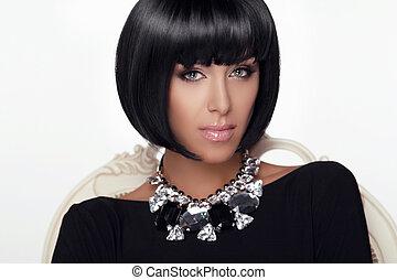 su., jewelry., donna, hairstyle., bellezza, fare, taglio capelli, makeup., fascino, girl., moda, portrait., elegante, sexy, style., voga