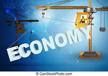 su, parola, sollevamento, gru, economia
