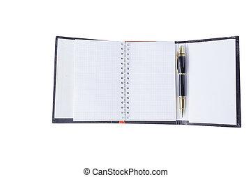 su., .photo, spazio, penna, fondo, chiudere, organizzatore, copia, aperto, bianco