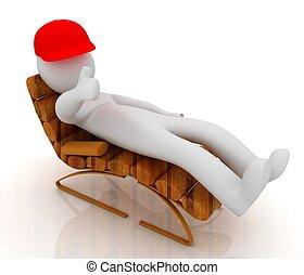 su, sedia, legno, pollice, uomo, dire bugie, 3d, bianco