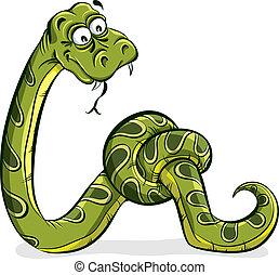 su., serpente verde, legato, cartone animato
