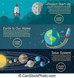 su, set, razzo, spazio, system., spazio, -, inizio, vettore, solare, concetti, terra, bandiere