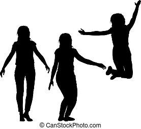 su, silhouette, motion., ragazze, tre, illustrazione, giovane, vettore, mani, saltare