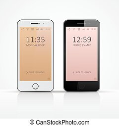 su., smartphone, illustration., realistico, vettore, icon., beffare