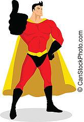 su, superhero, pollici