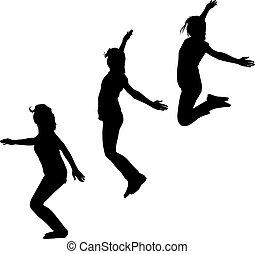 su, tre, saltare, silhouette, mani, ragazze, movimento, giovane