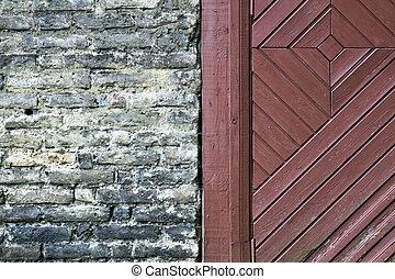 su., vecchio, fragment., parete, porta, struttura, legno, fondo., chiudere, mattone
