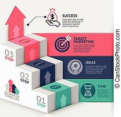 su, web, usato, affari, scala, essere, timeline, opzioni, workflow, numero, disegno, infographics, disposizione, vettore, diagramma, lattina, passo, bandiera, illustration., template., 3d