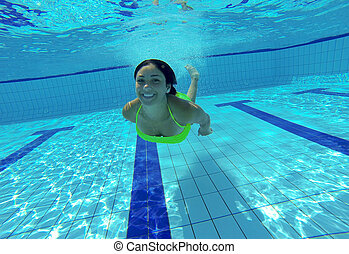 subacqueo, donna, giovane, sorridere felice, stagno, nuoto