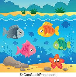 subacqueo, fauna, 2, tema, oceano