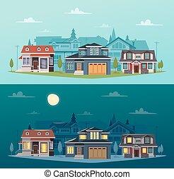 suburbano, case, bandiere, orizzontale