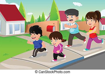 suburbano, esterno, vicinato, correndo, famiglia