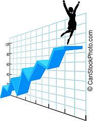 successo, affari, ditta, grafico, su, persona, crescita
