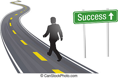 successo, affari firmano, passeggiata, strada, uomo