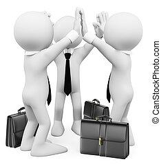 successo, affari, persone., lavoro squadra, bianco, 3d