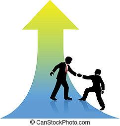 successo, affari, su, porzione, persona, socio