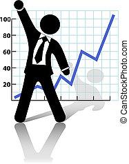 successo, crescita affari, aumenti, pugno, uomo affari, celebrare