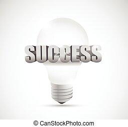 successo, illustrazione, bulbo, luce