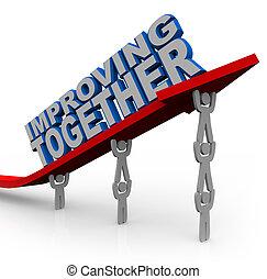 successo, insieme, ascensori, crescita, freccia, squadra, migliorare