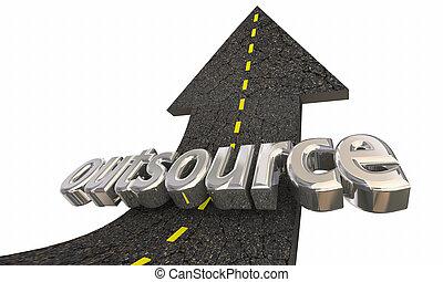 successo, lavoro, indipendente, lavoratore, esterno, illustrazione, su, outsource, freccia, strada, 3d