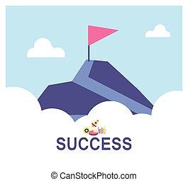 successo, montagne, modo, bandiera