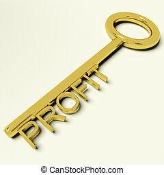 successo, oro, profitto, trafficare, chiave, rappresentare, mercato