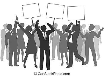 successo, persone affari, squadra, 3, segni, celebrare