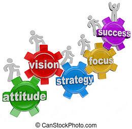 successo, persone, alzarsi, visione, strategia, ingranaggi, ottenere