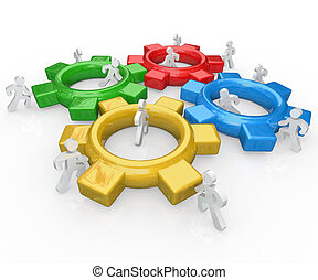 successo, persone, insieme, lavoro squadra, ingranaggi, squadra, spinta