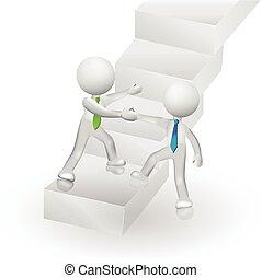 successo, persone, rampicante, logotipo, scale, 3d