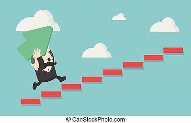 successo, wants., scala, prese, su, anziano, verde, freccia, uomo affari, lui