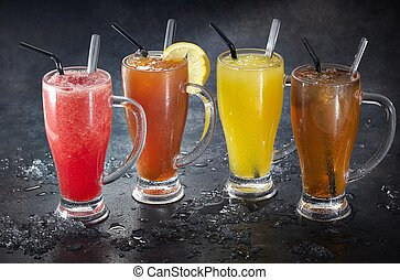 succhi, frutta, ghiaccio, colorito, occhiali