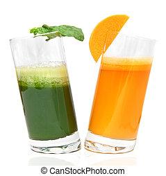 succhi, prezzemolo, isolato, carota, fresco, bianco, occhiali