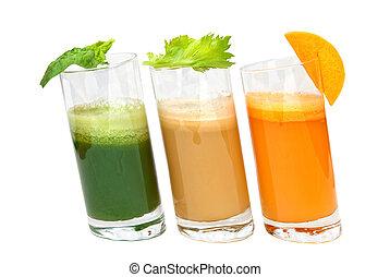 succhi, prezzemolo, isolato, sedano, carota, fresco, bianco, occhiali