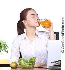 succo arancia, bere, donna, asiatico