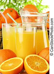 succo arancia, occhiali, frutte